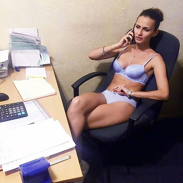 Naked legs at the office